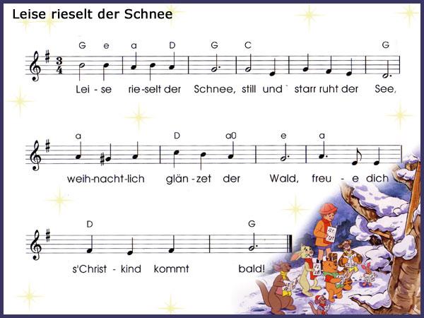 Weihnachtslieder Ausdrucken.Leise Rieselt Musik Beas Winnie Pooh